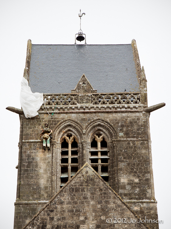 Sainte-Mère-Église Church where paratrooper John Steele was caught   in one of the pinnacles of the church tower on DDay. He is still celebrated in this small French town.