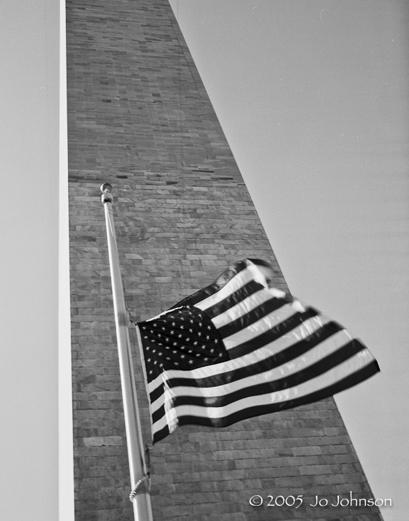 Washington Monument. The flag flies at half staff for Chief Justice William Rehnquist.