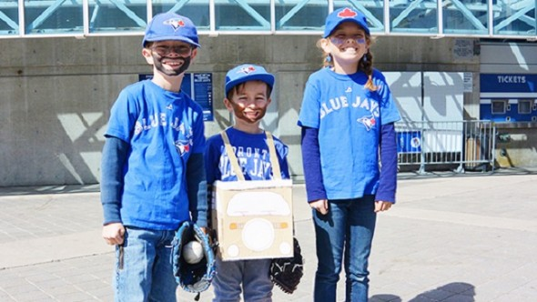 Oscar, Jasper, and Bella Wood (left to right) are becoming quite the staples at the Rogers Centre and catching the eye of fans and players alike. Dressing up as mini Jose Bautista, and mini Daniel Norris has become a family ritual that the Wood family doesn't plan on giving up any time soon, and for good reason. Top photo: Lauren Thompson.