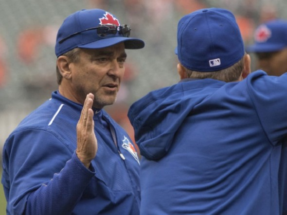 Blue Jays hitting coach Brook Jacoby, shown earlier this season talking behind the batting cage with manager John Gibbons, was suspended 14 games for an altercation with umpire Doug Eddings in the tunnel leaving the field at Fenway Park last week. The Jays are appealing the suspension.