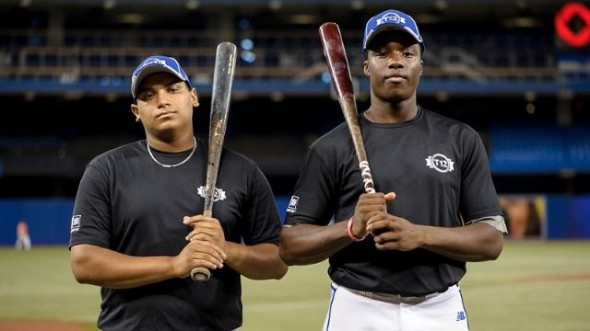 1B Josh Naylor (Mississauga, Ont.), left, of the Ontario Blue Jays and OF Demi Orimoloye (Orleans, Ont.) of the Ottawa Canadians may have company in the first 100 players selected next month in the June draft of high schoolers and collegians.