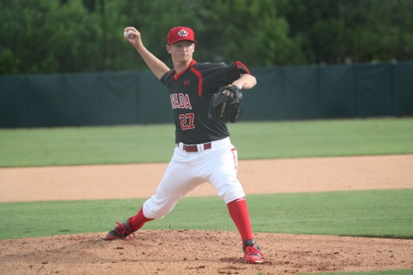 Mike Soroka, who competed at Tournament 12 in Toronto last week, has been busy excelling with the Canadian Junior National Team, and the 17-year-old is looking forward to continuing his gains as he heads into his draft year in 2015. (Photo: Baseball Canada).