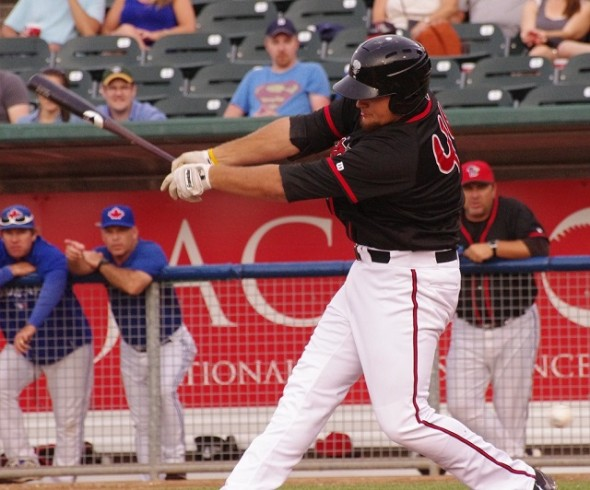 Rockin' Rowdy Tellez was 4-for-5 with three doubles and a home run, to go with his three RBIs as the class-A Lansing Lugnuts edged the South Bend Cubs 6-4. Photo: Jay Blue.