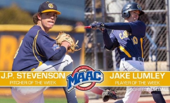 Coach Mike McRae (Niagra Falls, Ont.) guided his current school, the Canisius Griffs, to a doubleheader sweep over his old team, the Niagara Purple Eagles, thanks to J.P. Stevenson (New Glasgow, PEI) and Jake Lumley (Windsor, Ont.) who won pitcher and player of the week earlier in the MAAC. Photo: Tom Wolf Imaging.