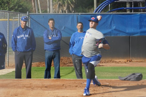 Dane Johnson (left) with Jeff Ware and Vince Horsman watching Jeff Hoffman throw a bullpen in Dunedin. Johnson was selected with the Blue Jays first pick in 1984 when the Jays didn't have a first pick -- like last year. Photo: Eddie Michels.