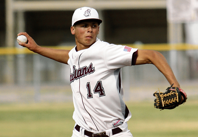 Justin Maese pitching for the Indians' in El Paso was the Jays first pick of day 2.. (Rudy Gutierrez—El Paso Times)