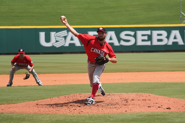 RP Kyle Lotzkar pitched two innings allowing one run as Team Canada fell 9-3 to Team USA in the opener of its warm-up tournament to the Pan Am Games.