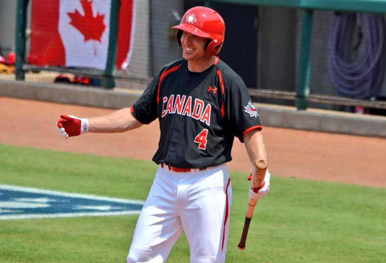 3B Peter Orr had the rare chance to play in his own back yard. He tripled in his first at-bat to get Canada off to a good start against the Dominican Republic in Ajax. Photo: Alexis Brudnicki.