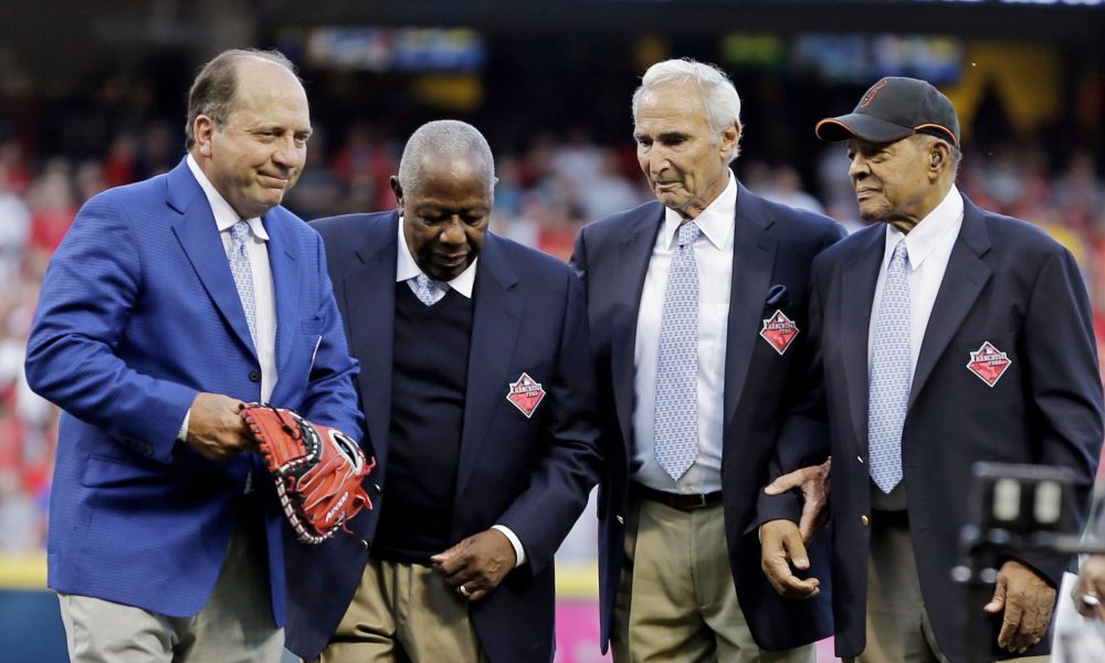 C Johnny Bench (left to right), Hank Aaron, Sandy Koufax and the great Willie Mays were voted the four greatest living players in MLB.com voting.