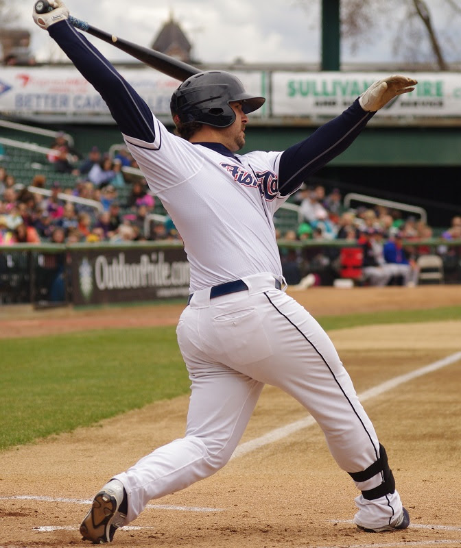 K.C. Hobson hit his 11th home run of the season at double-A New Hampshire. Photo: Jay Blue.