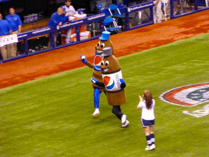 The classic Pepsi race at Tropicana Field ... we're not sure if David Price was inside one of the costumes, but he ran the Pepsi race one night.