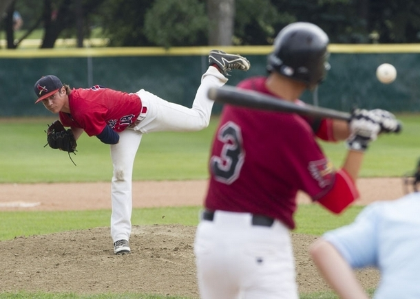LHP Taran Oulton (Nanton, Alta.) pitches a complete-game three-hitter as the Prospects Academy blanked the East Cobb Astros 7-0. Photo: Topher Seguin/St. Albert Gazette.