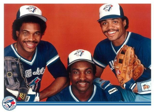 George Bell, left, Lloyd Moseby, centre and Jesse Barfield, who earned the tab as the Best Young Outfield in Baseball.