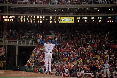 RP Duane Ward celebrates after the final out of the Blue Jays 15-14 win over the Philadelphia Phillies in Game 4 of the 1993 World Series.