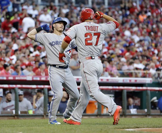Mike Trout (27) and Josh Donaldson hit back-to-back during the all-star game in Cincinnati and they went face to face this weekend.