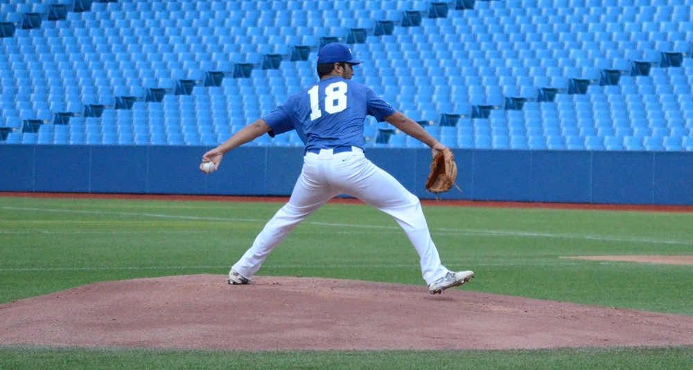 Vincent Beauregard (Laval, Que.) of Orioles de Montreal, goes into his windup. Photo Credit: Mitch Sanderson