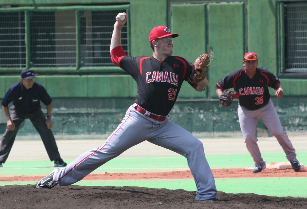 RHP Josh Burgmann (Nanaimo, BC) of the Vauxhall Jets, was impressive for BC Orange and is now headed to the University of Washington Huskies. Photo: Adam Morissette.