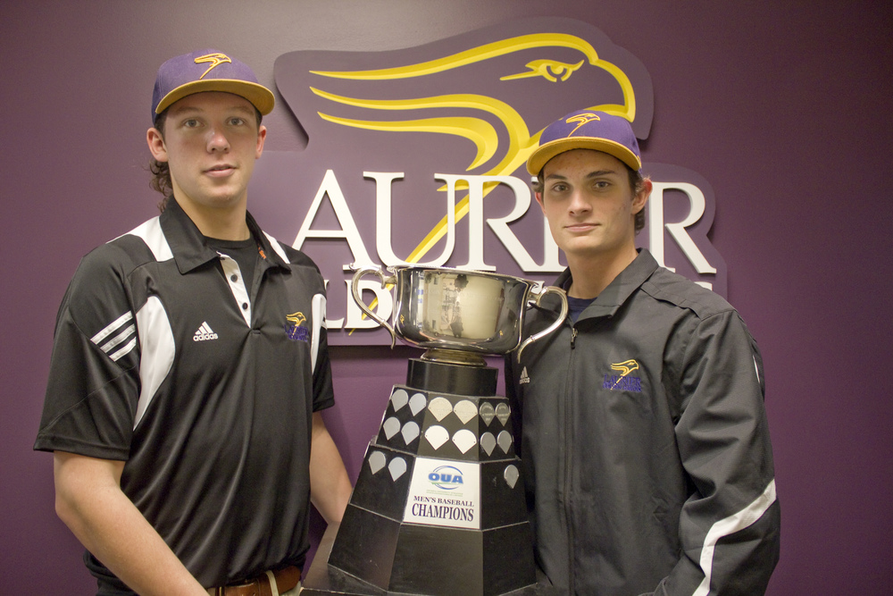 Adam McBride (left) and Adam Raithby have been major influences for the Laurier Hawks and they were again against the Ryerson Rams. Photo: Jessica Dik.