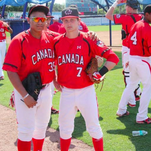 INF Peter Hutzal (Calgary, Alta.) right of the Okotoks Dawgs with Josh Naylor.