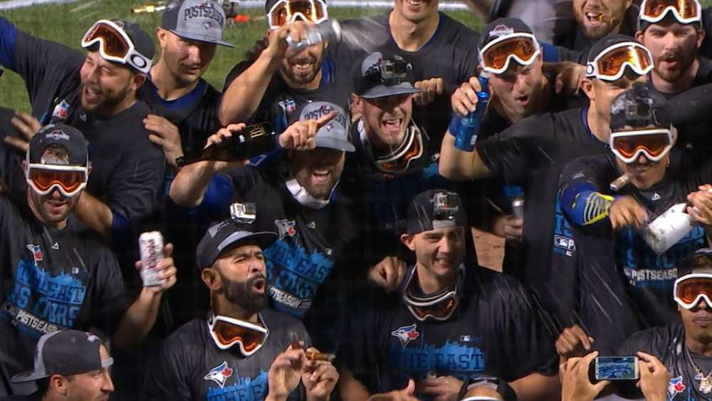The men in googles are the 2015 American League East champion Toronto Blue Jays.