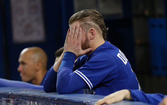 3B Josh Donaldson can't believe that the Jays are down 2-0 in the best--of-five American League Division Series.