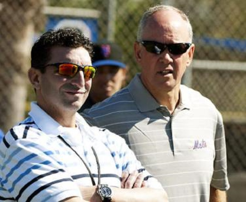 Former Blue Jays J.P. Ricciardi (left) of the New York Mets with Mets GM Sandy Alderson.