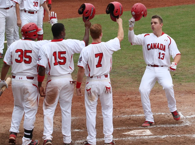 Tyler O'Neill (Maple Ridge, BC) crossing the plate after a home run ... as he did in Taiwan to give Canada a 2-0 win over Puerto Rico, moving to 2-0 in the Premier 12 tourney.