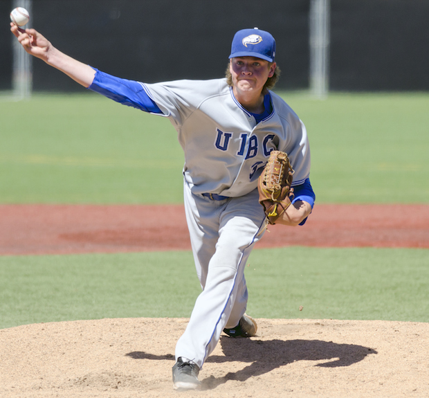 UBC Thunderbirds RHP Curtis Taylor (Coquitlam, BC) did what players are supposed to do on scout day: he impressed scouts ... with a fastball in the mid '90s. Photo: Wilson Wong, UBC athletics.