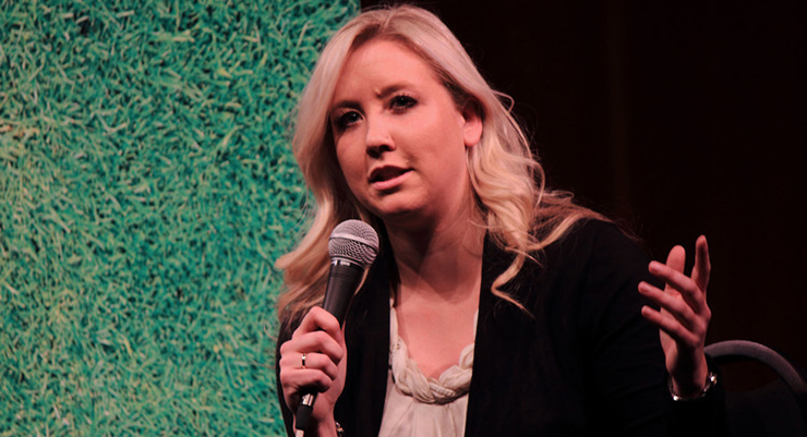 Alexis Brudnicki speaking at a Toronto Pitch Talks event in February. (Photo Pitch Talks