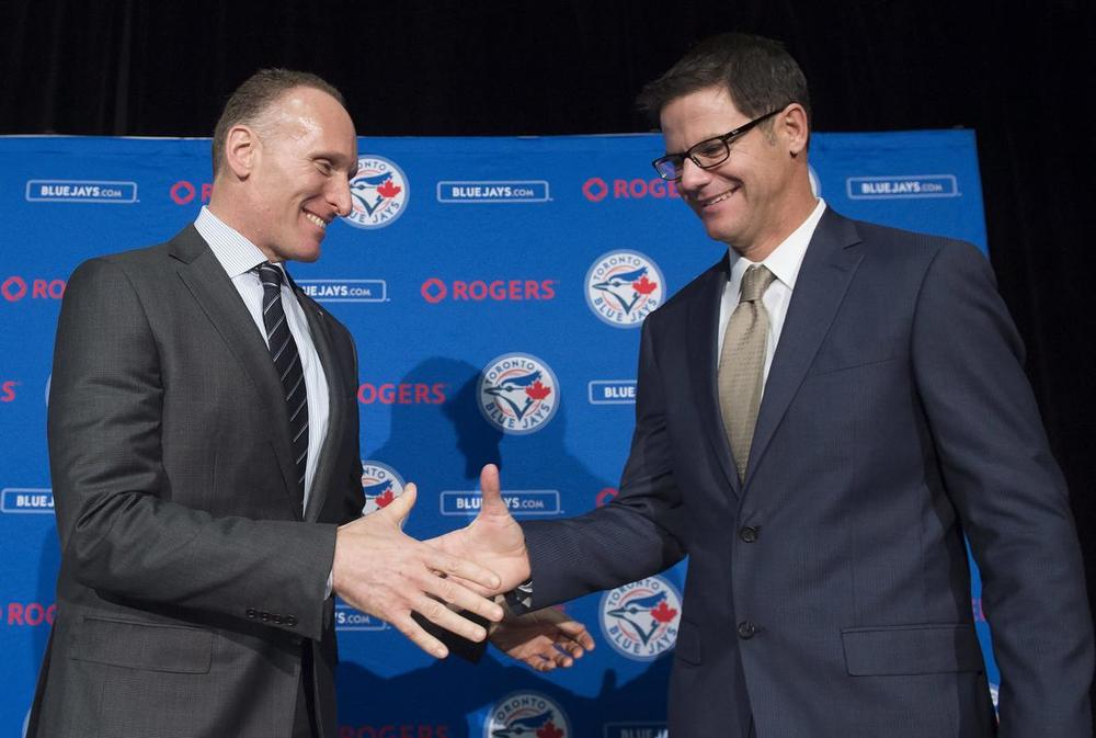 New Blue Jays president Mark Shapiro congratulates new Jays GM Ross Atkins.