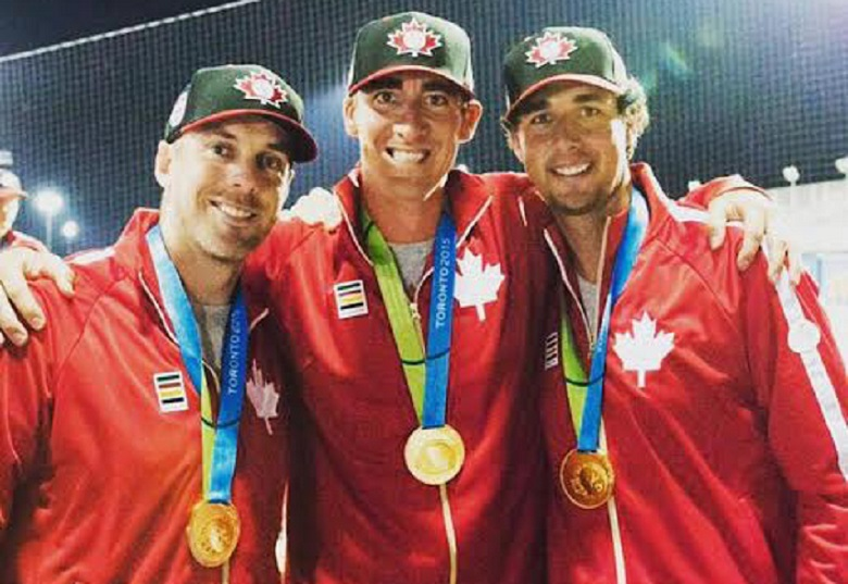 RHP Scott Richmond (North Vancouver, BC) middle, with his gold medal winning Team Canada teammates Shawn Hill (Georgetown, Ont.) left, and Jeff Francis (North Delta, BC). Photo Bob Richmond.