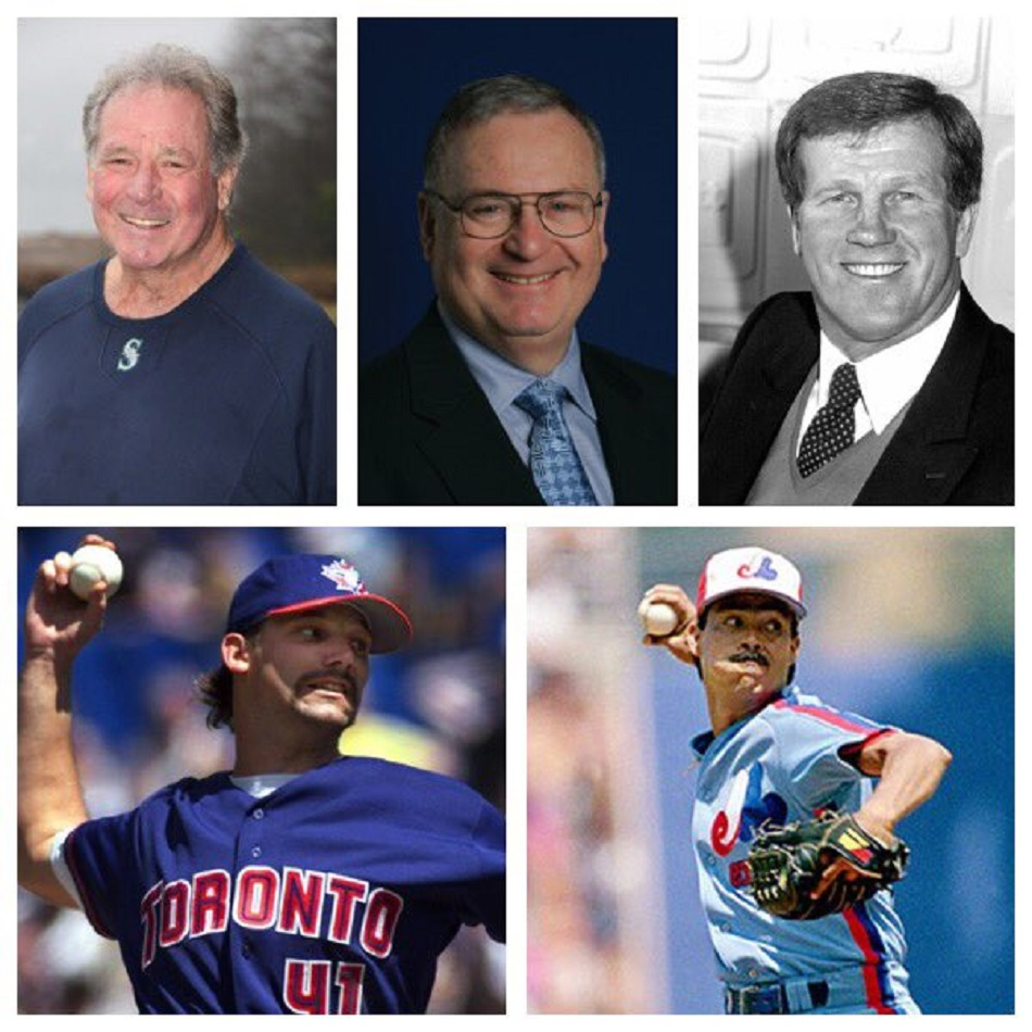 The class of 2016 for the Canadian Baseball of Fame in St. Marys. In the top row are Seattle Mariners scout Wayne Norton (Port Moody, BC), Blue Jays executive Howard Starkkman (Mississauga, Ont.) and broadcaster Tony Kubek. And in the bottom row RHPs Pat Hentgen and Dennis Martinez. Also elected was William Shuttleworth.