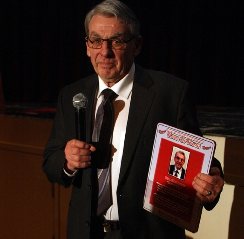 Former Okotoks Mayor Bill McAlpine, who make things happen with founding director John Ircandia was inducted into the Okotoks Hall of Fame along with the late Darryl K. (Doc) Seaman.