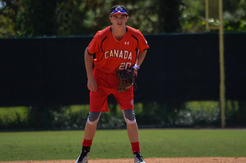1B Soren Graversen (Calgary, Alta.) of the Okotoks Dawgs is also a member of the Canadian Junior National Team.