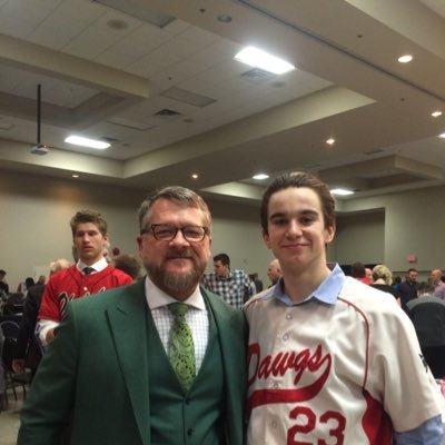Okotoks Dawgs Hall of Fame guest speaker Gregg Zaun of Sportsnet with INF Cole Tucker (Mount Pearl, Nfld.)