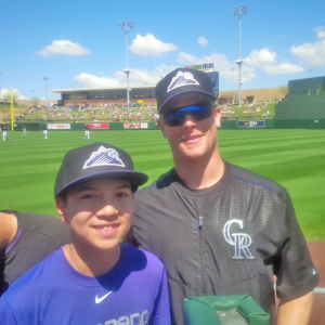 The two Justins: Justin Thorsteinson (Richmond) and Justin Morneau (New Westminster) of the Colorado Rockies before a spring training game in 2015 at Salt River Fields at Talking Stick, Scottsdale, Az.