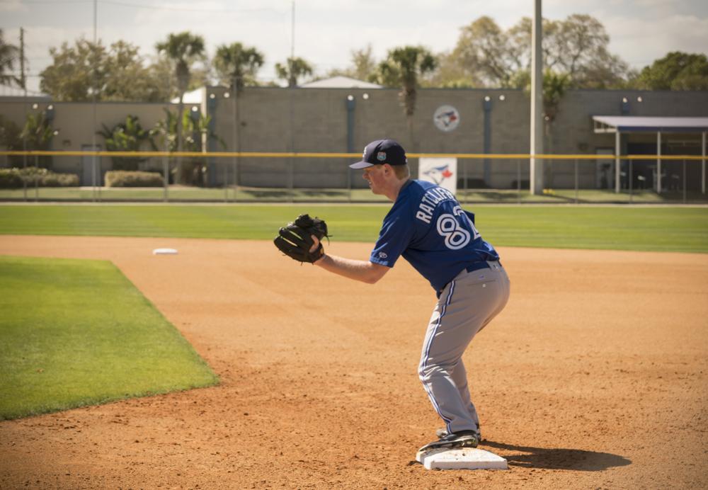 Sean Ratcliffe participates in pitcher's fielding practice. Photo: Shoaib Alli