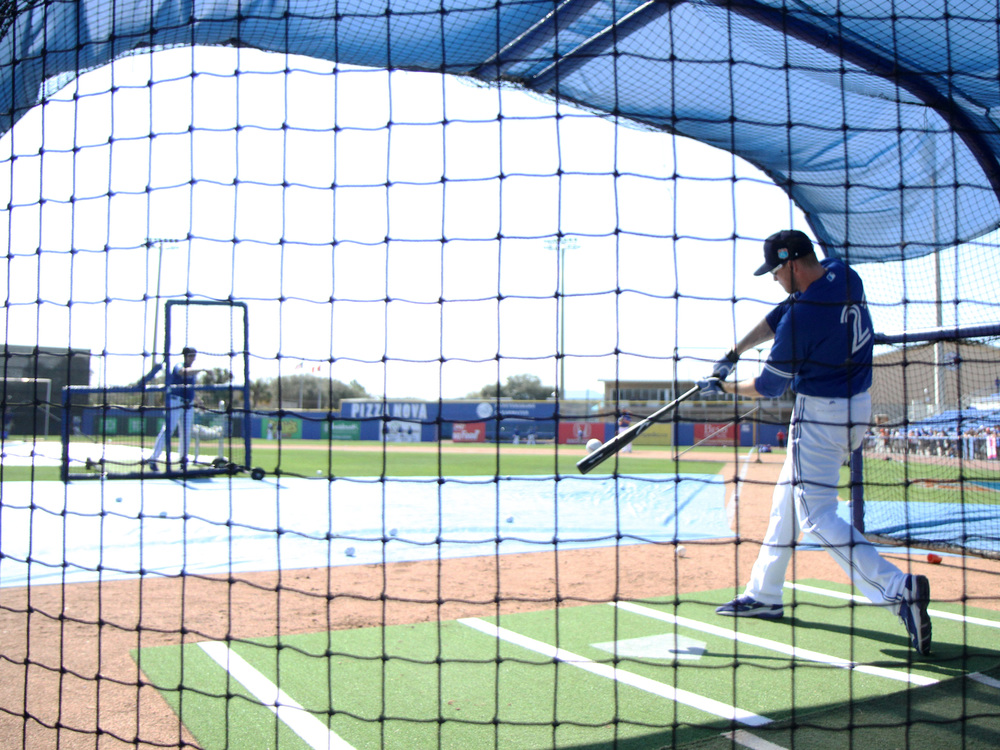 Blue Jays outfielder Michael Saunders takes batting practice at Florida Auto Exchange Stadium in Dunedin, Florida. Photo: Derek Ritschel