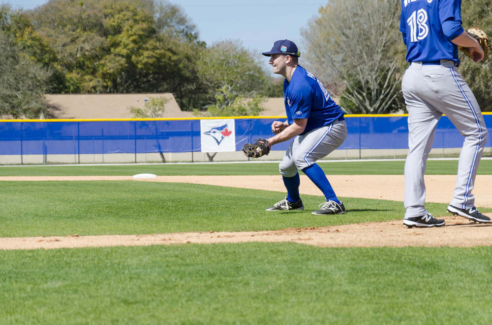 Connor Panas fields balls at first base. Photo: Wendy Clarke