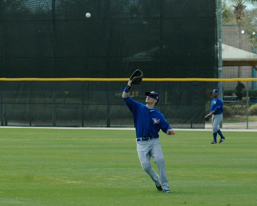 Ian Parmley catches fly balls in practice. Photo: Tristan Garnett