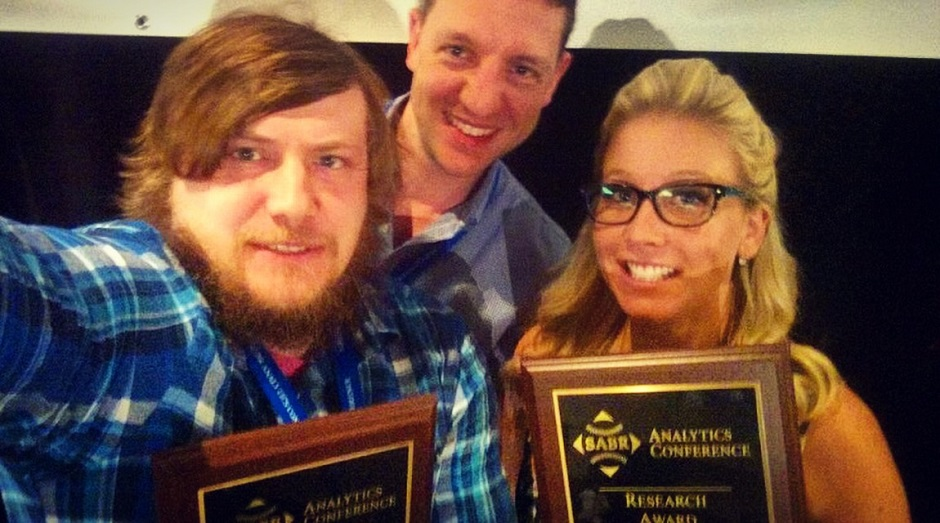 Gregory J. Matthews, left and Ben Baumer co-winners of the Contemporary Baseball Analysis Award, along with Alexis Brudnicki, winner of the Contemporary Baseball Commentary award at the fifth annual SABR Analytics Conference in Phoenix, Az.