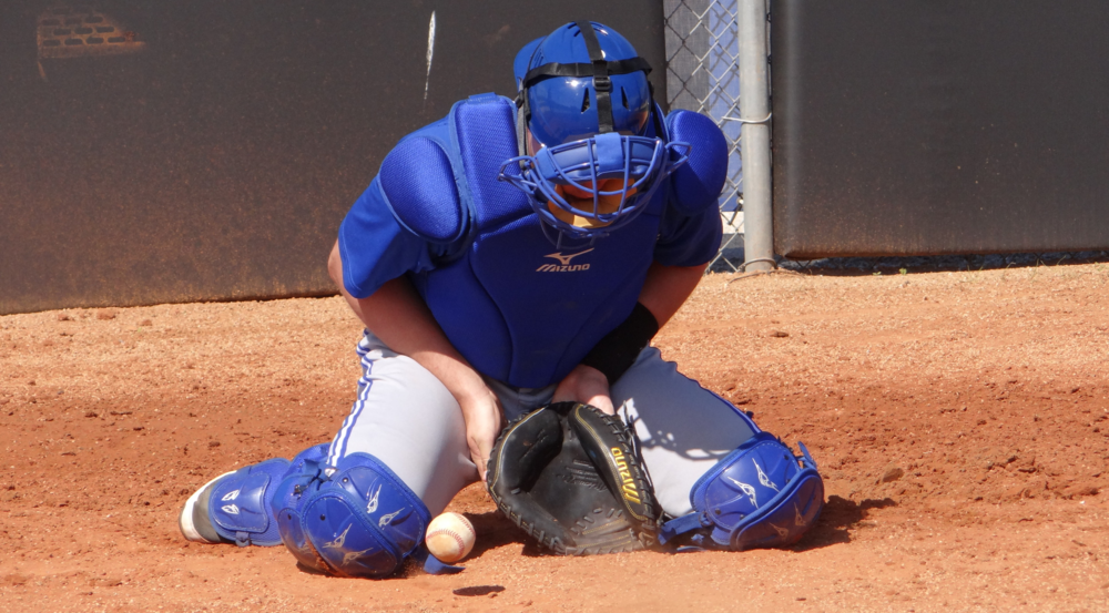 Owen Spiwak practices blocking baseballs at spring training. Photo: Jamie Johnstone