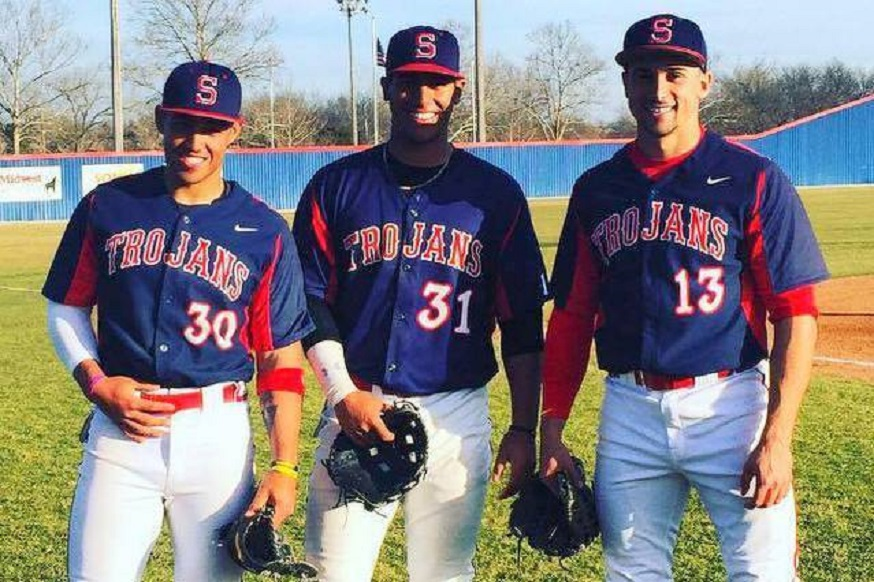 Philippe Berthiaume (Lac St-Charles, Que.), left, Louis-Philippe Pelletier (Montreal, Que.) middle and Abraham Toro (Longueuil, Que.) had a weekend to remember for the Seminole State Trojans. Berthiaume had six hits and three RBIs, Pelletier had six hits with a double, triple and a solo home run while Toro had 11 hits with a triple, two homers and six RBIs.