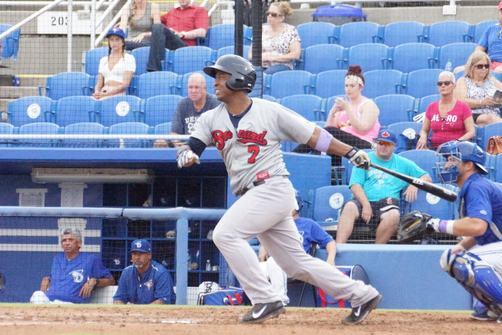 Robinzon Diaz, shown here i  n 2015 with the class-A Brevard County at Dunedin, was dealt for Jose Bautista, in 2008. Both were Dunedin last spring and this were at Miller Park at the same time. Bautista hit his 273rd homer as a Jay, while Diaz, the Brewers bullpen catcher, watched from the bullpen. Photo: Eddie Michels.