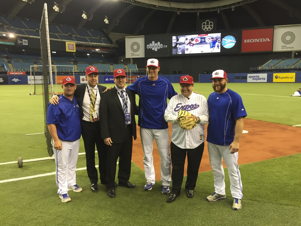 Baseball Canada has a new program: summer's perfect game. From left to right, double-A New Hampshire coach Stubby Clapp (Windsor, Ont.),Blue Jays respected executive Stephen Brooks (Prince George, BC), Baseball Canada vice president Jason Dickson (Chatham, NB), OF Michael Saunders (Victoria, BC), Montreal mayor Denis Coderre (Montreal, Que.) and C Russell Martin (Montreal, Que.) were all at Olympic Stadium.