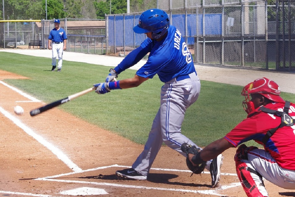 Richard Urena homered for the class-A Dunedin Blue Jays, the only team to see action on Opening Night in the minors. Photo: Jay Blue.