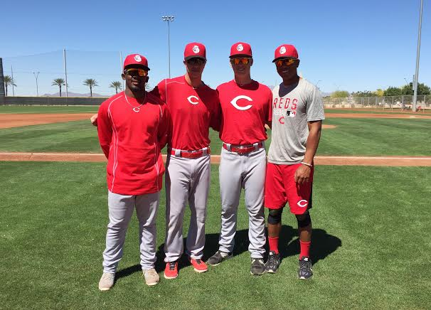 J.D. Williams (Brampton, Ont.), left is joined left to right, with Isaac Anesty (Guelph, Ont.), RHP Darren Shred (Brampton, Ont.) and OF Myles Gordon (Oakville, Ont.). Canadian scout Bill Byckowski selected all four in the June draft. Gordon played with the Great Lake Canadians, while the others were with the Ontario Blue Jays. Photo: Alexis Brudnicki.