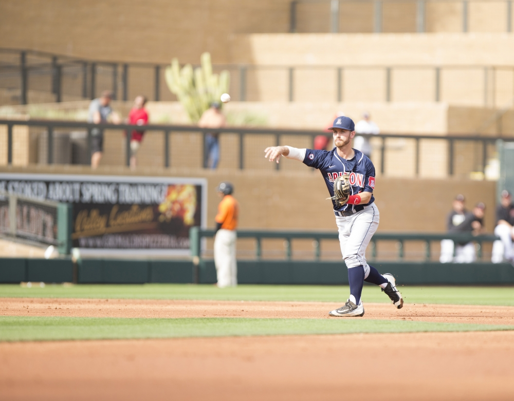 Junior infielder Louis Boyd during Arizona's 12-5 loss to the Arizona Diamondbacks at Salt River Fields in Scottsdale, Az. on March 1. Boyd overcame a head injury and found success as a Wildcat. Photo: Emily Gauci/Arizona Athletics/The Daily Wildcat.