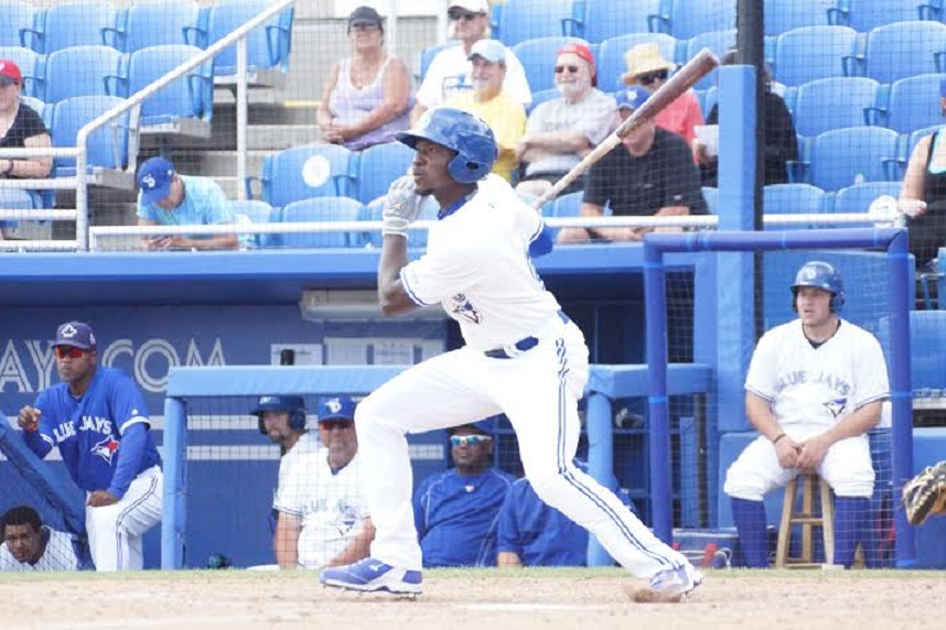 Jonathan Davis owns the third-best OBP in the class-A Florida State League at .437 and has four home runs for the Dunedin Blue Jays. Photo: Eddie Michels.