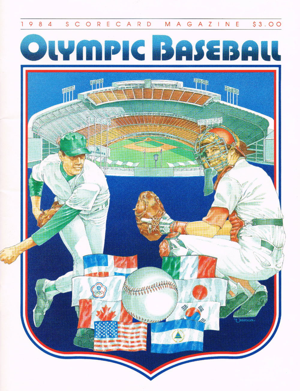 Cover of 1984 Los Angeles Olympics baseball program when Canada made its debut in the demonstration sport. Photo supplied by Alain Patenaude.